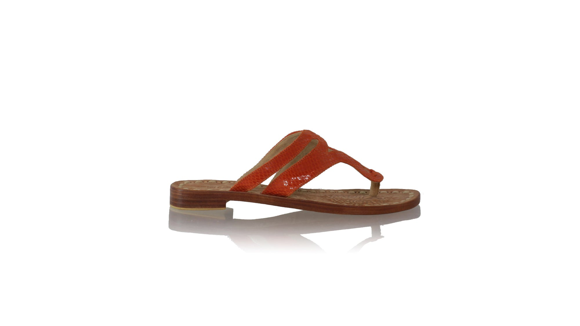 Leather-shoes-Arrah 20mm Flat - Orange Snake Print-sandals flat-NILUH DJELANTIK-NILUH DJELANTIK