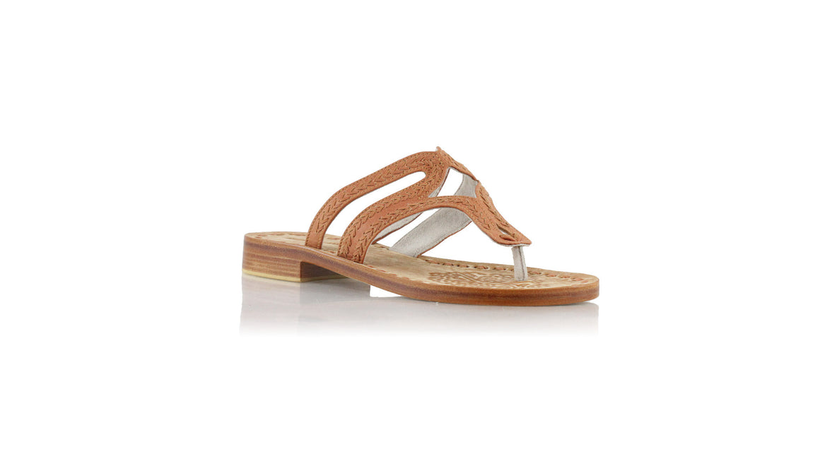 leather shoes Arrah Sulam 20mm Flats - Camel, sandals flat , NILUH DJELANTIK - 1