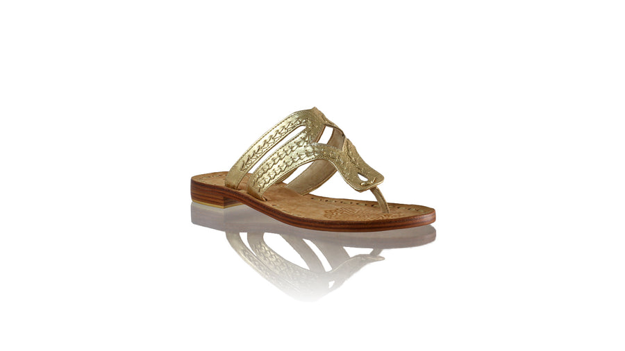 Leather-shoes-Arrah 20mm Flat - Gold-sandals higheel-NILUH DJELANTIK-NILUH DJELANTIK