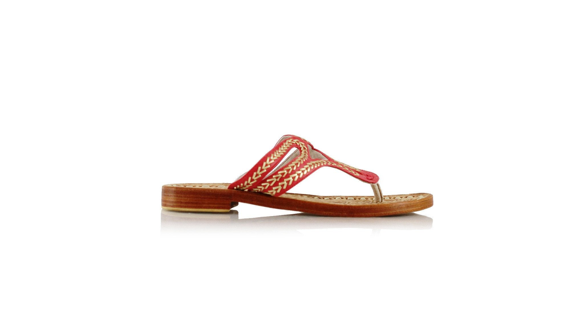 Leather-shoes-Arrah 20mm Flat - Red & Gold-sandals higheel-NILUH DJELANTIK-NILUH DJELANTIK