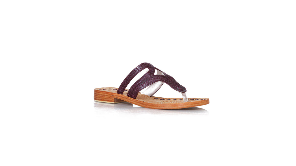 leather shoes Arrah Sulam Without Strap 20mm Flats All Deep Purple Vintage, sandals flat , NILUH DJELANTIK - 1