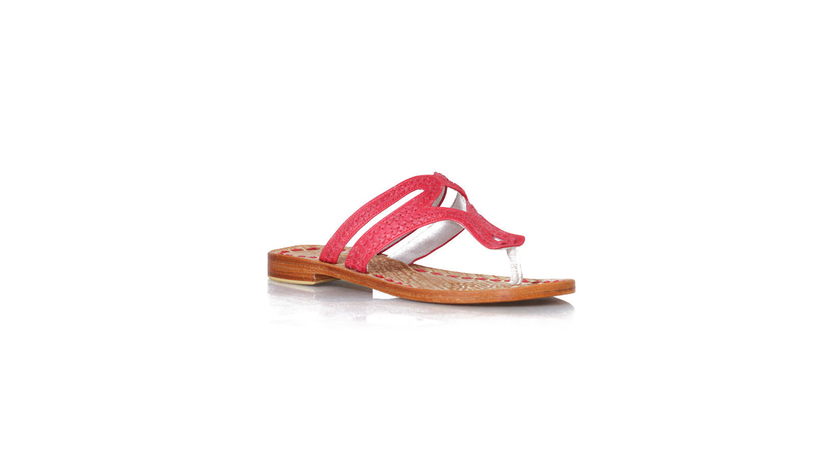 Leather-shoes-Arrah Sulam Without Strap 20mm Flats Red-sandals flat-NILUH DJELANTIK-NILUH DJELANTIK