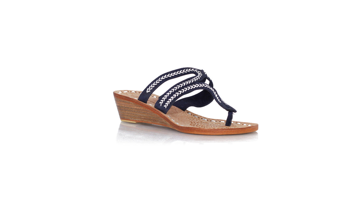leather shoes Arrah Sulam Without Strap 35mm Wedges Navy Blue Suede - Silver, sandals wedges , NILUH DJELANTIK - 1