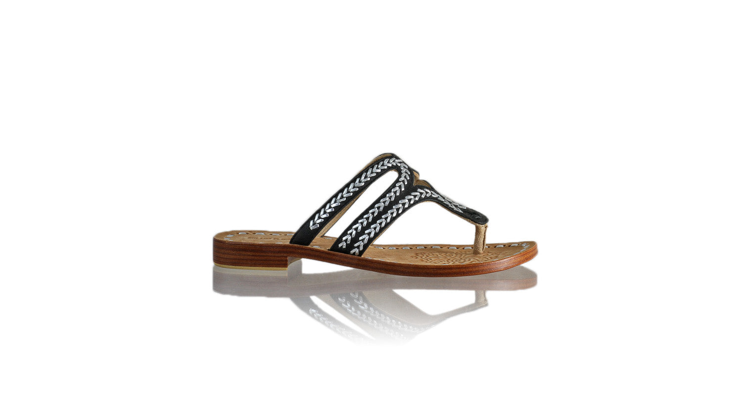 Leather-shoes-Arrah 20mm Flat - Black & Silver-sandals higheel-NILUH DJELANTIK-NILUH DJELANTIK
