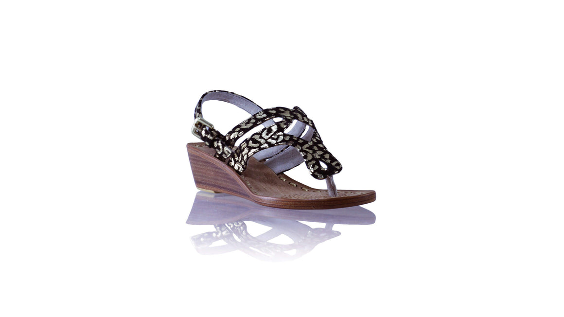 Leather-shoes-Arrah with Strap 35mm Wedges - Black & Gold Leopard Print-sandals wedges-NILUH DJELANTIK-NILUH DJELANTIK
