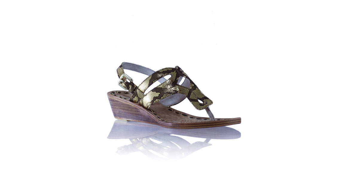 Leather-shoes-Arrah with Strap 35mm Wedges - Black & Gold Snake Print-sandals wedges-NILUH DJELANTIK-NILUH DJELANTIK