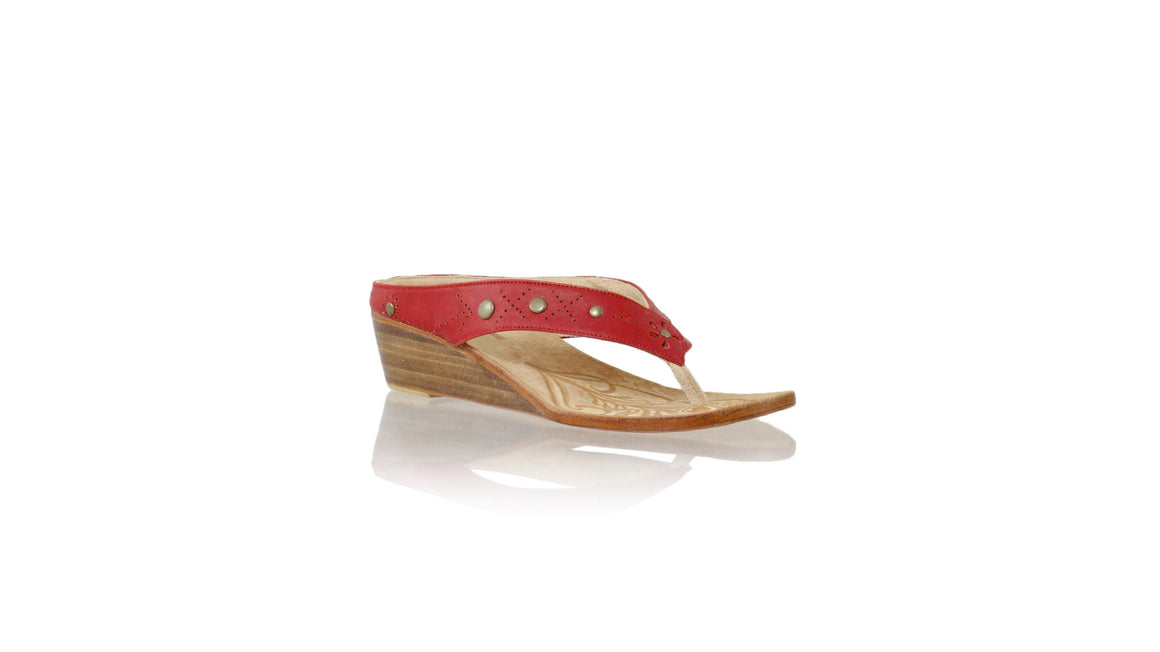 Leather-shoes-Asmiranda 35mm Wedges - Red-sandals wedges-NILUH DJELANTIK-NILUH DJELANTIK