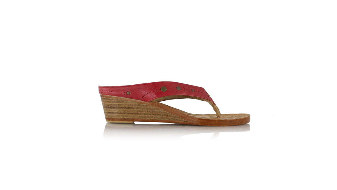leather shoes Asmirandah 35mm Wedges Red, sandals wedges , NILUH DJELANTIK - 1