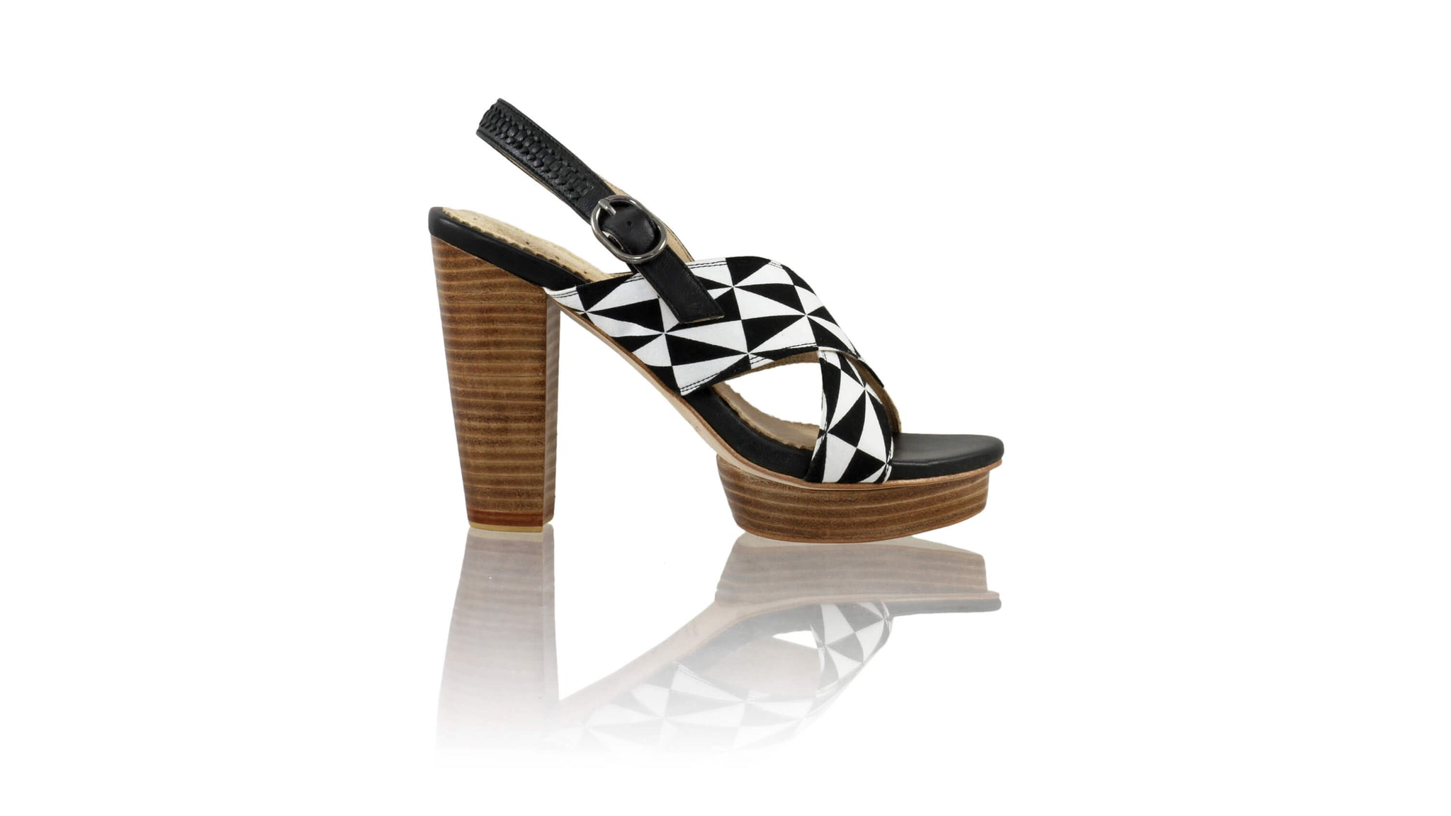 Leather-shoes-Ava 115mm WH PF - Black & Black White Triangle Motif-sandals higheel-NILUH DJELANTIK-NILUH DJELANTIK