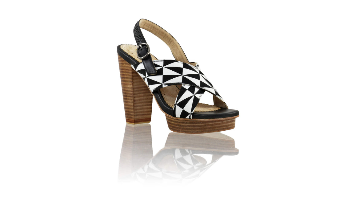 Leather-shoes-Ava PF 115mm WH - Black & Black White Triangle Motif-sandals higheel-NILUH DJELANTIK-NILUH DJELANTIK
