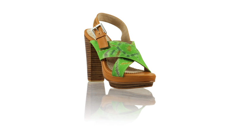 Leather-shoes-Ava 115mm WH PF - Camel & Green Handwoven Ikat-sandals higheel-NILUH DJELANTIK-NILUH DJELANTIK