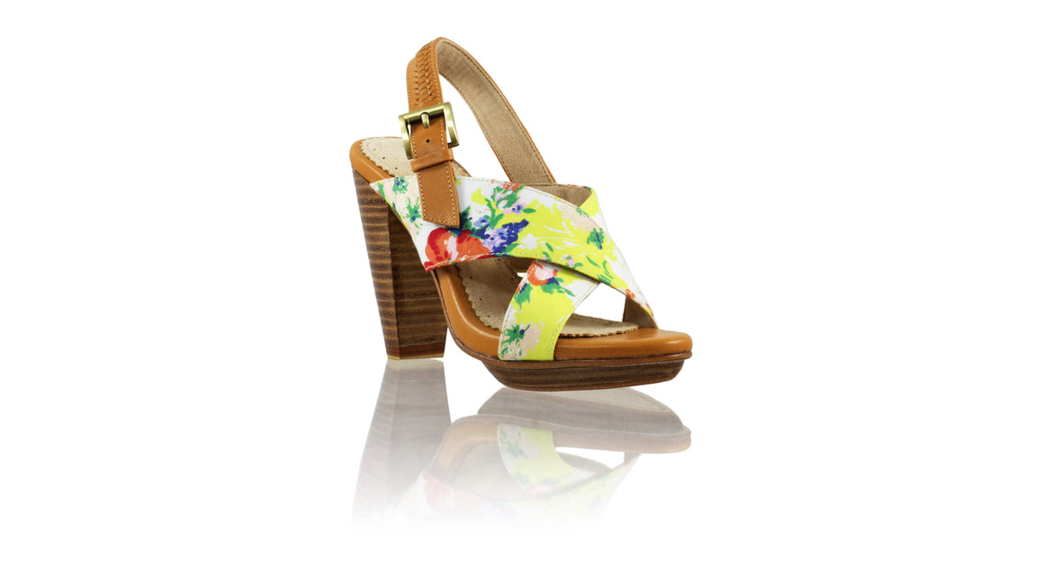 Leather-shoes-Ava PF 115mm WH - Camel & Yellow Flower-sandals higheel-NILUH DJELANTIK-NILUH DJELANTIK