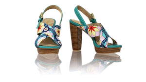 Leather-shoes-Ava 115mm WH PF - Emerald leather & Emerald Retro Canvas-sandals higheel-NILUH DJELANTIK-NILUH DJELANTIK