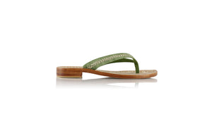 leather shoes Ayu 20mm Flats - Green Croco embossed & Gold, sandals flat , NILUH DJELANTIK - 1