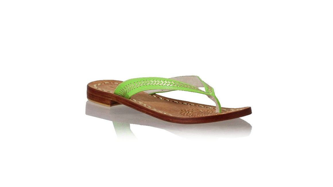 leather shoes Ayu 20mm Flats -  Green & Gold, sandals flat , NILUH DJELANTIK - 1