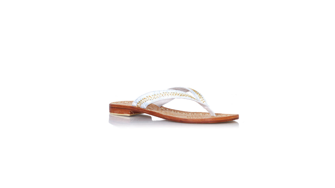 leather shoes Ayu 20mm Flats - White Embossed Croco Gold, sandals flat , NILUH DJELANTIK - 1