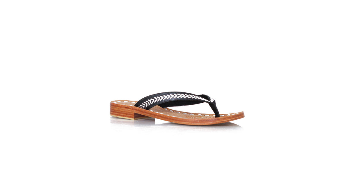 leather shoes Ayu Without Straps 20mm Flats Black - Silver, sandals flat , NILUH DJELANTIK - 1