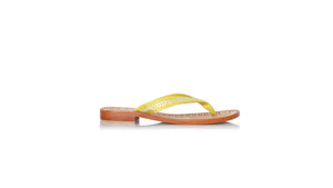leather shoes Ayu Without Straps 20mm Flats Yellow Croco - Silver, sandals flat , NILUH DJELANTIK - 1