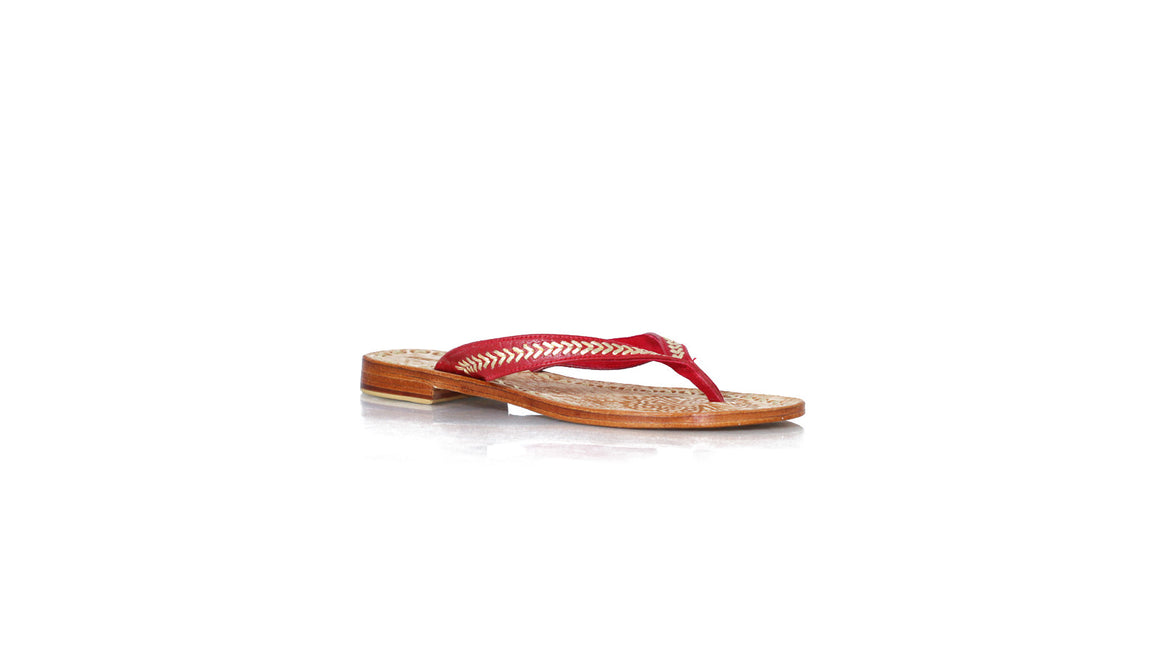 leather shoes Ayu Without Straps 20mm Flats Red Croco - Gold, sandals flat , NILUH DJELANTIK - 1