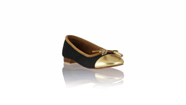 Leather-shoes-Balfy 20mm Ballet - Black Canvas & Gold Leather-flats ballet-NILUH DJELANTIK-NILUH DJELANTIK