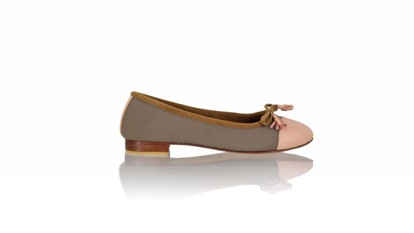 Leather-shoes-Balfy 20mm Ballet - Cocoa Canvas & Soft Pink Leather-flats ballet-NILUH DJELANTIK-NILUH DJELANTIK