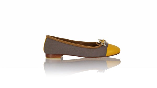 Leather-shoes-Balfy 20mm Ballet - Cocoa Canvas & Yellow Leather-flats ballet-NILUH DJELANTIK-NILUH DJELANTIK