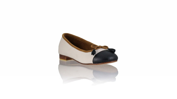 Leather-shoes-Balfy 20mm Ballet - White Canvas & Black Leather-flats ballet-NILUH DJELANTIK-NILUH DJELANTIK