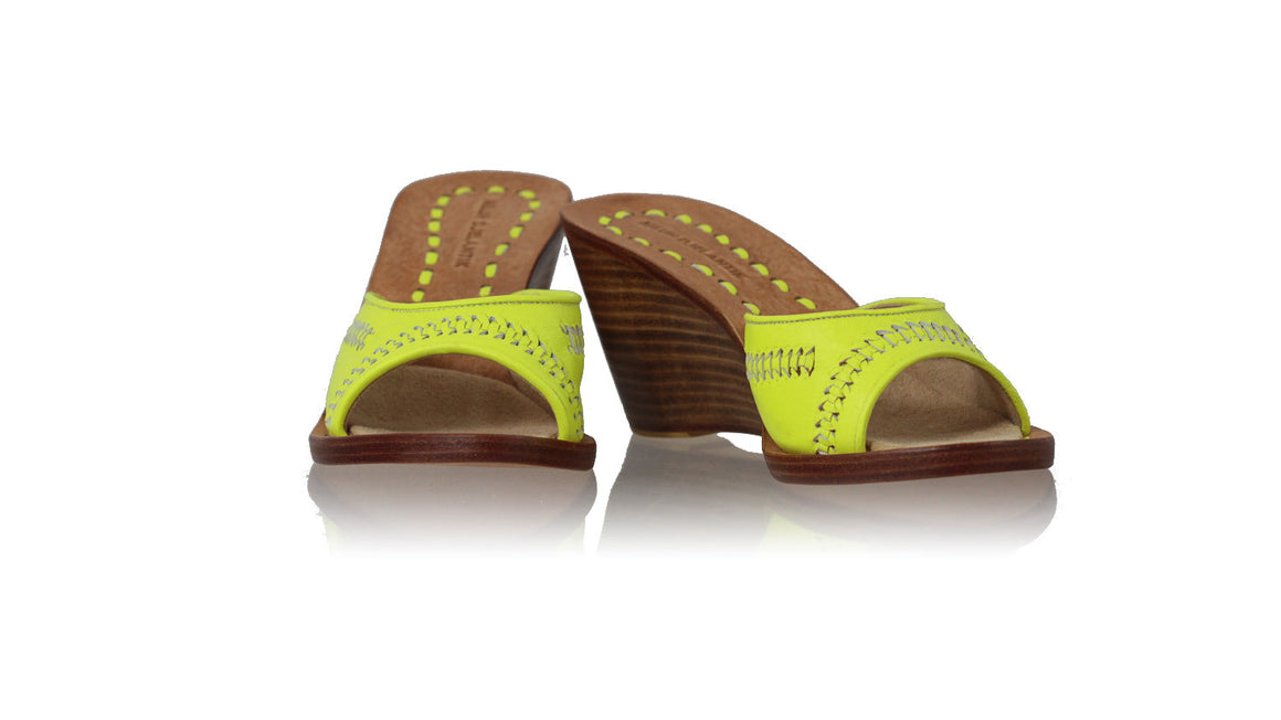 leather shoes Bintang 80mm Wedges - Lime Green, sandals wedges , NILUH DJELANTIK - 1