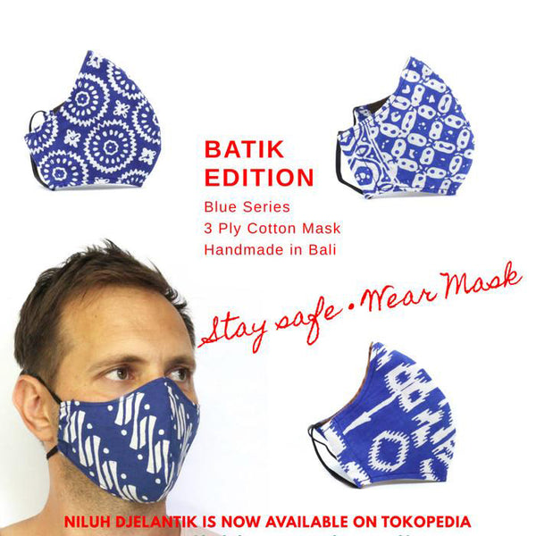 Leather-shoes-Batik 3 PLY cotton mask Set BLUE SERIES-Accessories-NILUH DJELANTIK-NILUH DJELANTIK