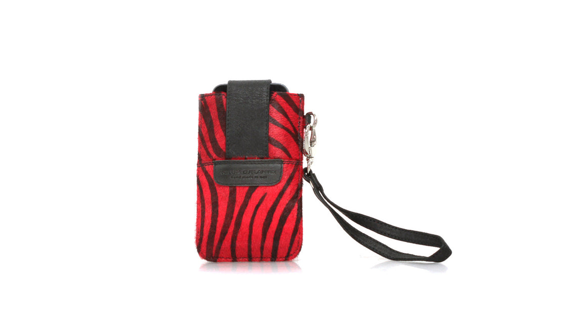 leather shoes Bonjour Flap Phone Case - Zebra Print Calf hair - Red and Black, Accessories , NILUH DJELANTIK - 1