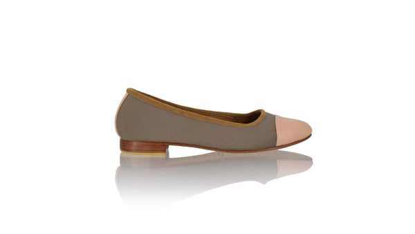 Leather-shoes-Calya 20mm Ballet - Cocoa Canvas & Soft Pink Leather-flats ballet-NILUH DJELANTIK-NILUH DJELANTIK