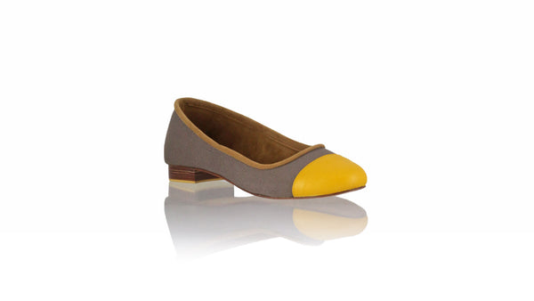 Leather-shoes-Calya 20mm Ballet - Cocoa Canvas & Yellow Leather-flats ballet-NILUH DJELANTIK-NILUH DJELANTIK