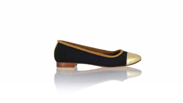 Leather-shoes-Calya 20mm Ballet - Black Canvas & Gold Leather-flats ballet-NILUH DJELANTIK-NILUH DJELANTIK