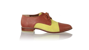 Leather-shoes-Carlos 25mm Flats - Burnt Orange & Yellow Lime-flats laceup-NILUH DJELANTIK-NILUH DJELANTIK