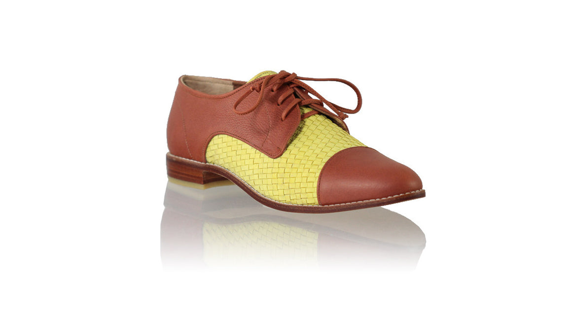 leather shoes Carlos 25mm Flats - Burnt Orange & Yellow Lime, flats laceup , NILUH DJELANTIK - 1