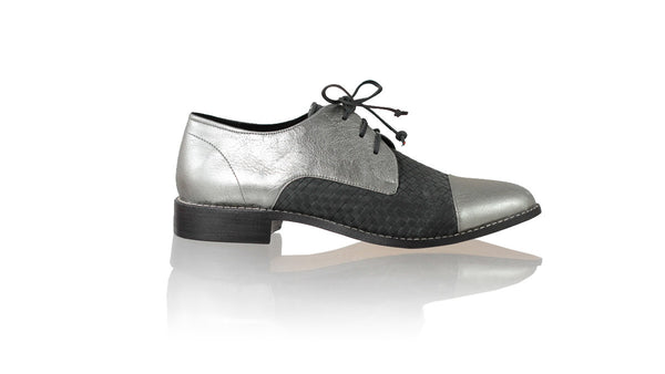Leather-shoes-Carlos 25mm Flat - Grey Metallic & Black-flats laceup-NILUH DJELANTIK-NILUH DJELANTIK