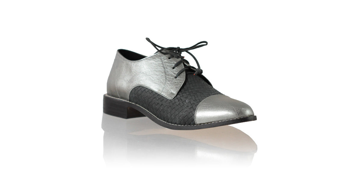 leather shoes Carlos 25mm Flats - Grey Metallic & Black, flats laceup , NILUH DJELANTIK - 1