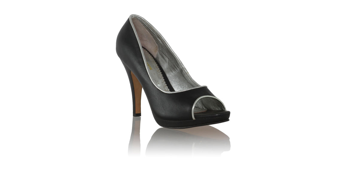 leather shoes Charlie PF 115mm SH - Black & Silver Piping, pumps highheel , NILUH DJELANTIK - 1