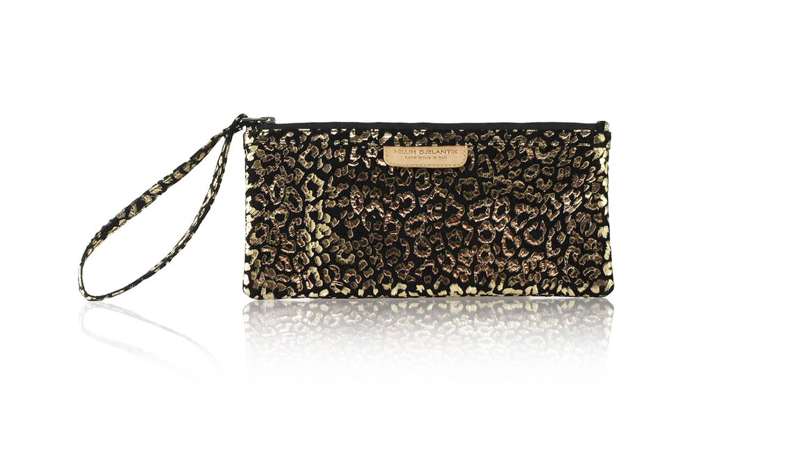 Leather-shoes-Clutch 11x23 - Black & Gold Leopard Print-Zipper Clutch-NILUH DJELANTIK-NILUH DJELANTIK