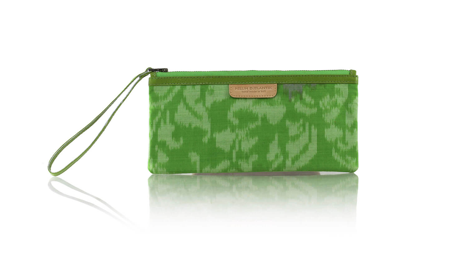 Leather-shoes-Clutch 11x23 - Green Handwoven Ikat-Zipper Clutch-NILUH DJELANTIK-NILUH DJELANTIK