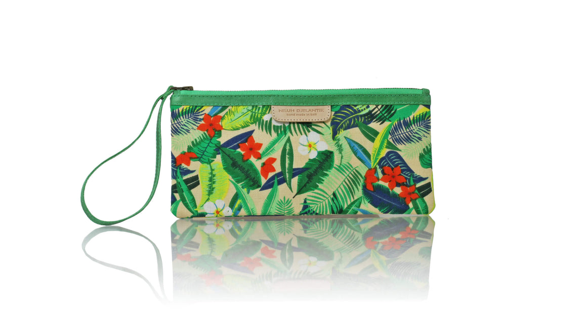 Leather-shoes-Clutch 11x23 - Multicolour Forest & Green piping-Zipper Clutch-NILUH DJELANTIK-NILUH DJELANTIK