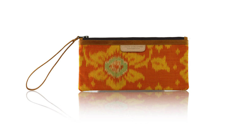 Leather-shoes-Clutch 11x23 - Orange Handwoven Ikat-Zipper Clutch-NILUH DJELANTIK-NILUH DJELANTIK
