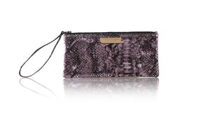 Leather-shoes-Clutch 11x23 - Purple Snake Print-Zipper Clutch-NILUH DJELANTIK-NILUH DJELANTIK