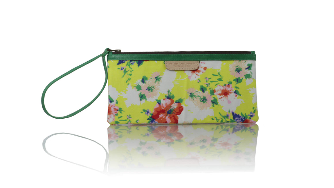 Leather-shoes-Clutch 11x23 - Yellow Flower & green piping-Zipper Clutch-NILUH DJELANTIK-NILUH DJELANTIK