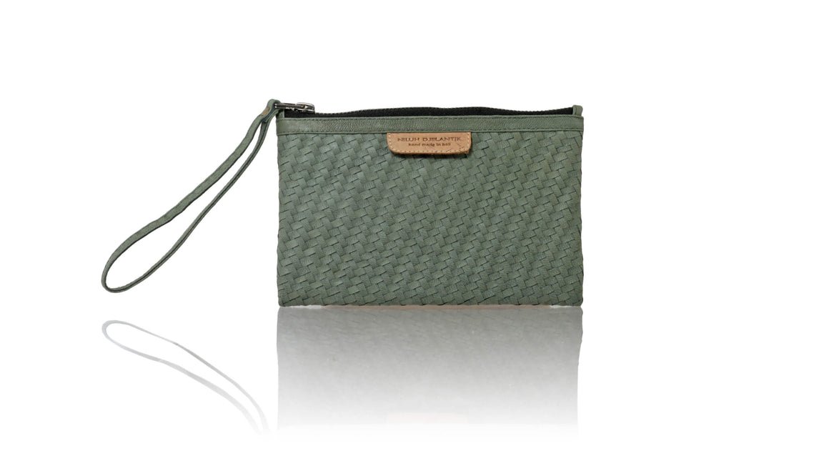 Leather-shoes-Clutch 12 x 19 - Olive Woven-Zipper Clutch-NILUH DJELANTIK-NILUH DJELANTIK