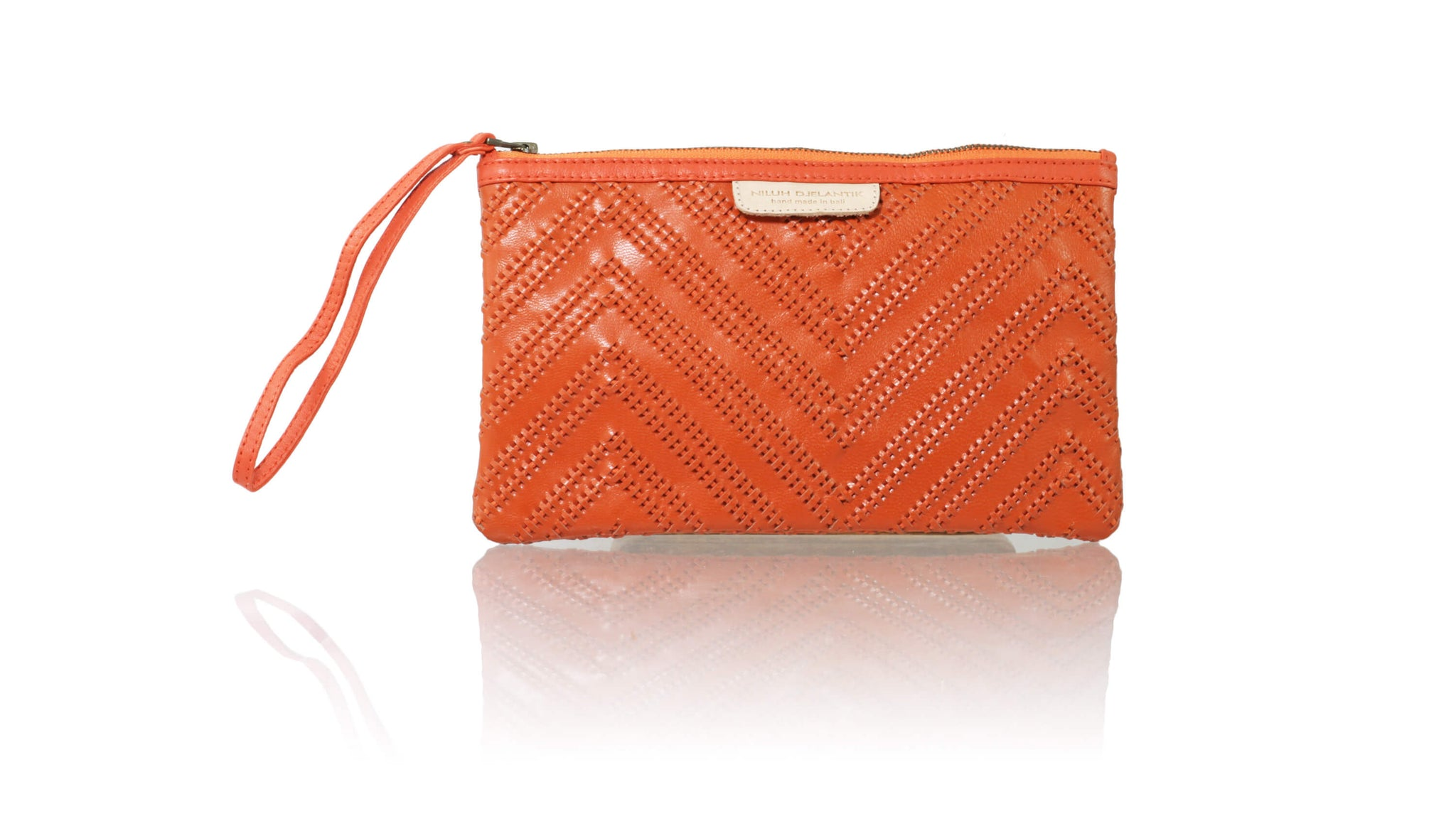 Leather-shoes-Clutch 14 x 23 - Orange Woven Tali-Zipper Clutch-NILUH DJELANTIK-NILUH DJELANTIK