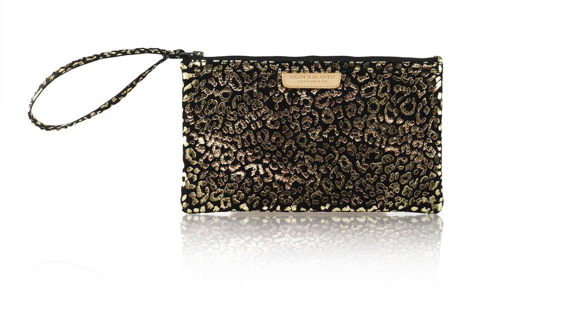 Leather-shoes-Clutch 14x23 - Black & Gold Leopard Print-Zipper Clutch-NILUH DJELANTIK-NILUH DJELANTIK