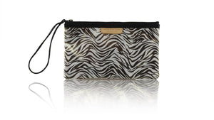 Leather-shoes-Clutch 14x23 - Bronze & Grey Zebra Print-Zipper Clutch-NILUH DJELANTIK-NILUH DJELANTIK