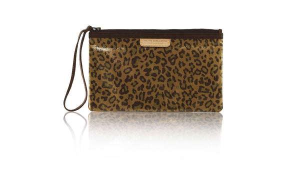 Leather-shoes-Clutch 14x23 - Brown Leopard Print Faux Leather-Zipper Clutch-NILUH DJELANTIK-NILUH DJELANTIK