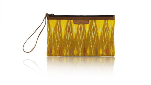 Leather-shoes-Clutch 14x23 - Brown & Yellow Handwoven Ikat-Zipper Clutch-NILUH DJELANTIK-NILUH DJELANTIK